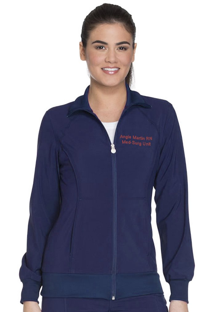 Embroidered Cherokee Women's Infinity Zip Front Warm-up Jacket (Style 2391A, Navy, S)