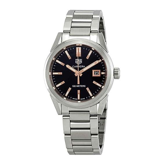TAG Heuer Carrera - Reloj para Mujer, Esfera Negra, 36 mm, WBG1311.BA0758: Amazon.es: Relojes