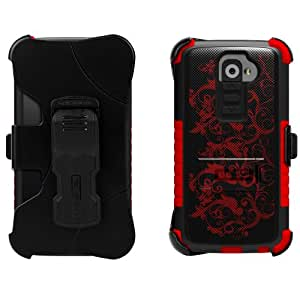 Beyond Cell High Impact Rugged Tri Shield® Kombo® Case & Holster Built Clip with Clear Screen Protector film for LG G2 D800/D801/D802/LS980/VS980 Flower Series - Black/Red - Retail Packaging