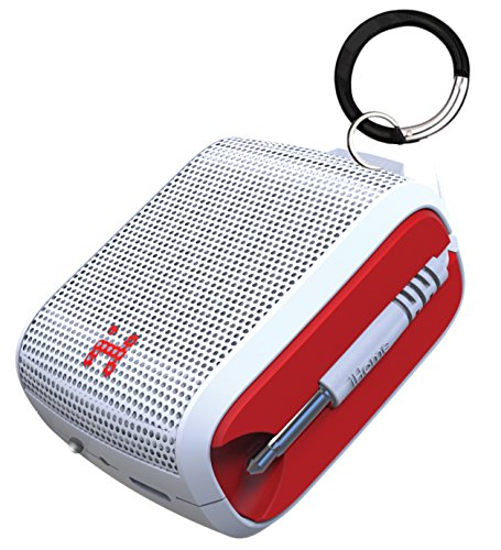 iHome iM54WRC Rechargeable Mini Speaker(White/Red)