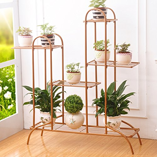 AIDELAI Iron Flower Stand Multi Storey Balcony Living Room Indoor Flowerpot Multi-functional Flower Shelf Ground Patio Garden Pergolas ( Color : Gold , Size : L ) by AIDELAI
