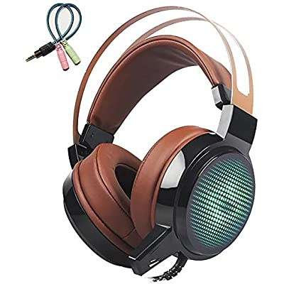 Mackur Gaming Headset Deep Bass Game Headphone Best Gamer with Microphone LED Light Headphones for Computer  Color Brown with cable