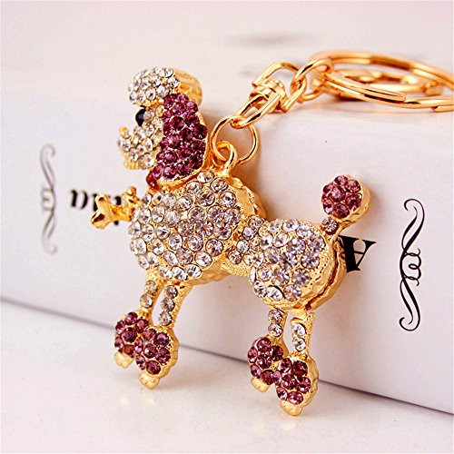 Crystal Dog Cute Flower Poodle Sparkling Keychain Rhinestones Purse Bag Charm Pendant Keyring Gift for Girl Woman Lady (pink (Cute Poodle)
