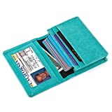 Leather Card Holder Credit Card Case Mini Pocket Wallet with ID Window for Men and Women (Green)