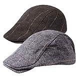 Senker 2 Pack Men's Classic Herringbone Tweed Wool Blend Flat Cap Ivy Gatsby Newsboy Cabbie Driving Hat
