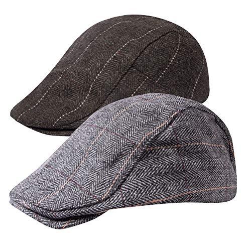 Senker 2 Pack Men's Classic Herringbone Tweed Wool Blend Flat Cap Ivy Gatsby Newsboy Cabbie Driving Hat,A-brown/Grey,One Size