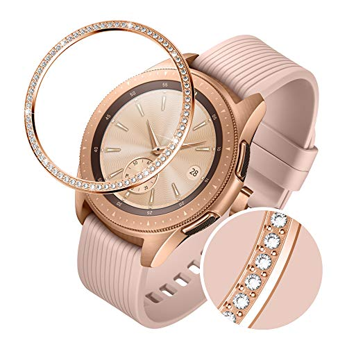 (GELISHI Stainless Steel Bezel Ring Compatiable Galaxy Watch 42mm/Gear Sport Bezel Loop Adhesive Cover Anti Scratch & Collision Protector for Galaxy Watch Accessory - Rose Gold)