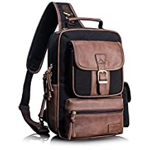 Leaper Retro Messenger Cross Body Shoulder Bag Waterproof Sling Outdoor Bag Daypack for Men and Women Black