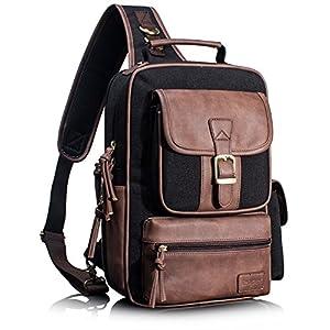 Leaper Outdoor Sling Bag Crossbody Travel Bag Shoulder Backpack Daypack Black