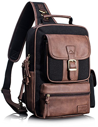 Leaper Outdoor Sling Bag Crossbody Travel Bag Shoulder Backpack Daypack Black