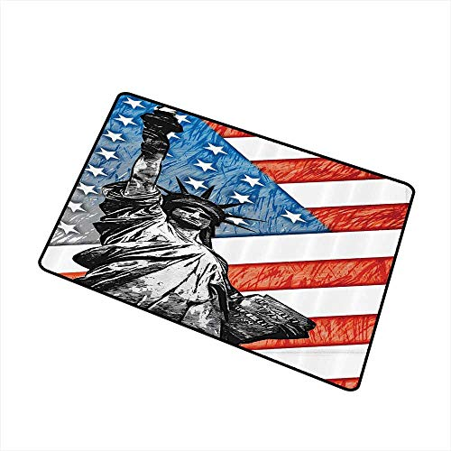 Jbgzzm Interior Door mat American Flag Decor Sketchy Statue Cultural Icon States Freedom History Country Love Artwork W24 xL35 Easy to Clean Multi