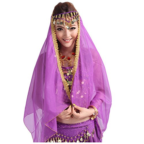 [ESHOO Women Belly Dancewear Costume Multi-Colors Gold Coin Decor Chiffon Headscarf] (Sexy Belly Dancer Costumes)