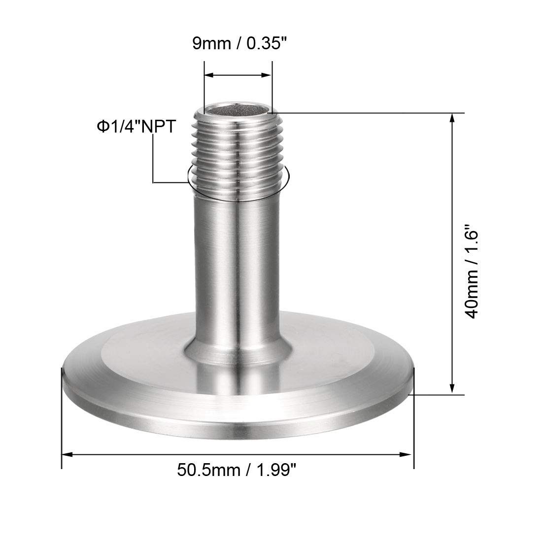 uxcell 1//4 inches NPT Male Threaded Pipe Fitting to TRI CLAMP OD 50.5mm Ferrule