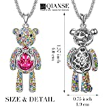 "QIANSE ""Bear Princess"" Teddy Bear Pendant Necklace Swarovski Crystals Jewelry for Women Girls Ideal Christmas Gifts Birthday Gifts for Daughter Granddaughter Girlfriend Mother Wife Best Friend Gifts"