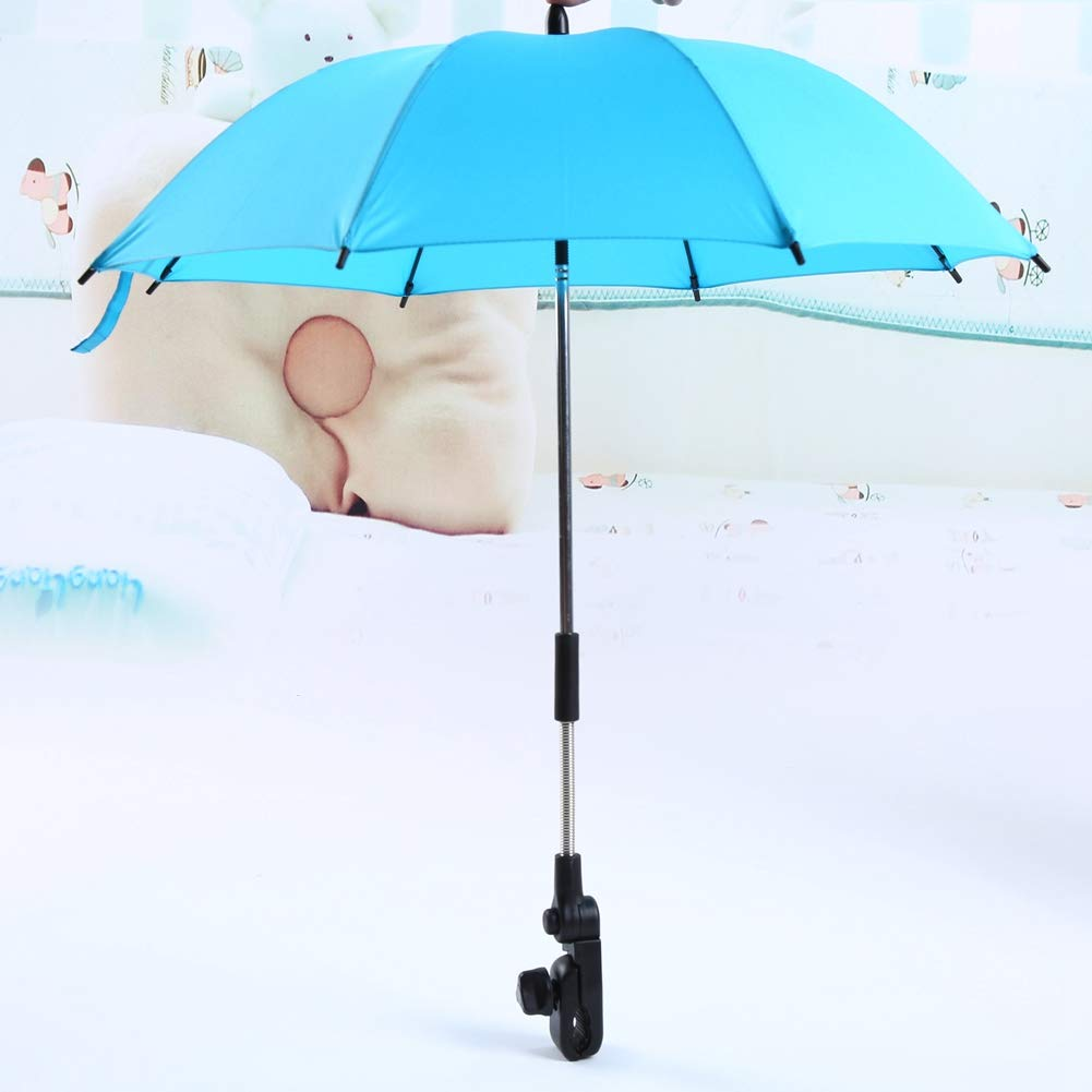 Baby Stroller Umbrella Waterproof UV Protection Wheelchair Pushchair Umbrella and Holder Baby Pram Parasol for Baby Skin Protection(Blue) by GOTOTOP