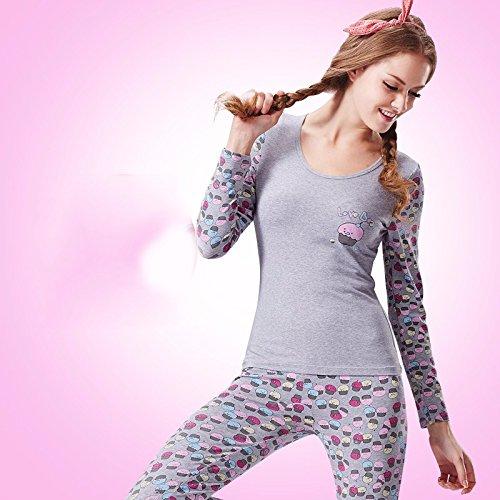a3d61c48ce67 Amazon.com: LVLIDAN Thermal Underwear winter feminine Cotton Slim Fit thin  gray XXL: Sports & Outdoors