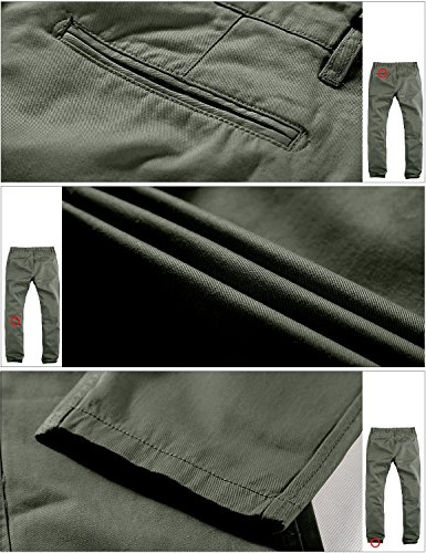 d224afbe Match Mens Slim-Tapered Flat-Front Casual Pants(Grayish green,29 ...