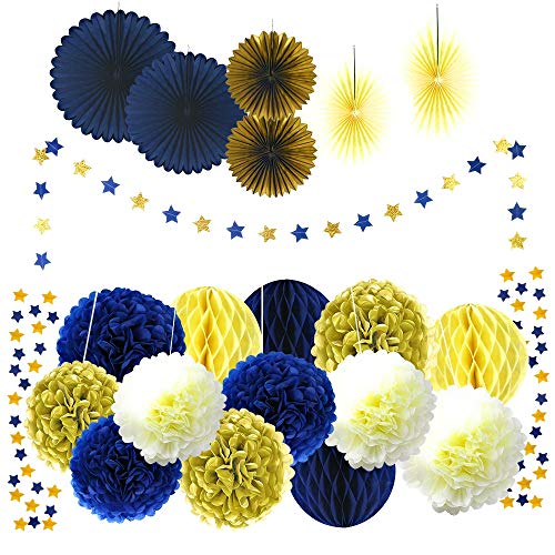 21 Pcs Navy Blue Gold Cream Tissue Pom Poms Set Paper Fan Honey Comb and Star Garland for Birthday Party Decorations Bridal Shower Anniversary Baby Boy Birthday Theme Party Supplies Set