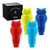 Finether Wine Stoppers   Funny Owl Silicone Wine Reusable Wine Bottle Stoppers   Personalized Wine Stoppers to Seal and Preserve Your Favorite Wine   Set of 4 Colors with Exquisite Gift Box