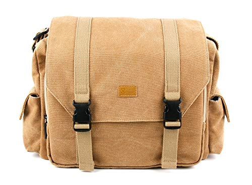 DURAGADGET Tan-Brown Large Sized Canvas Carry Bag - Suitable for The Marshall Kilburn & Marshall Stockwell