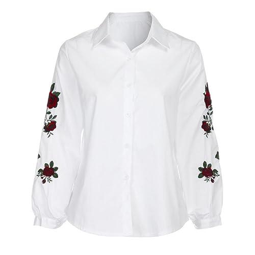 Winwintom Mujeres Chicas Camiseta De OtoñO Tops Casual Bordados Florales Blusa Suelta De Manga Larga