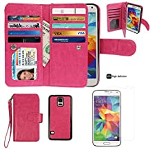Samsung S5 Case,xhorizon TM SR Premium Leather Folio Case[Wallet Function][Magnetic Detachable]Wristlet Book Style Multiple Card Slots Case for Samsung Galaxy S5 (i9600) +1 PCS HD Screen Protector