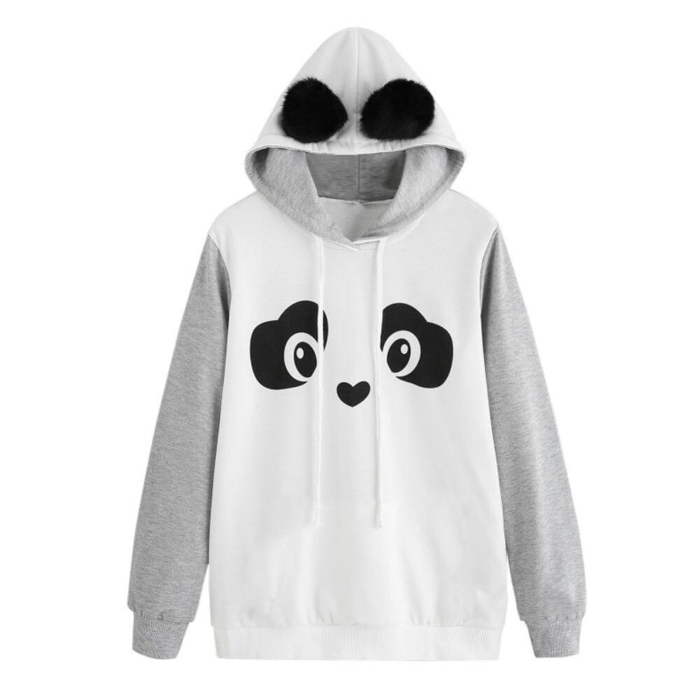 KaiCran Fashion Sweatshirt For Womens Panda Hoodie Sweatshirt Pullover Jumper Tops Blouse (Gray, XLarge)