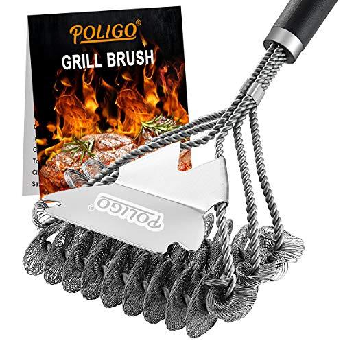 POLIGO BBQ Grill Cleaning Brush Bristle Free & Scraper – Triple Helix Design Barbecue Cleaner – Non-Bristle Grill Brush…