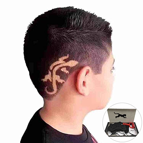 25Pcs Temporary Tattoo Stencil Haircut Hair Coloring Shaping Tool Roller Salon With Pain Brush By Makaor  Box Size  Approx  21 5 Cmx 10 Cm  Black