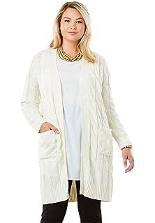 180dce21fc5 Jessica London Women s Plus Size Jacquard Sweater Duster at Amazon ...