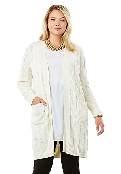 704b7711802 Jessica London Women s Plus Size Cable Duster Sweater at Amazon ...