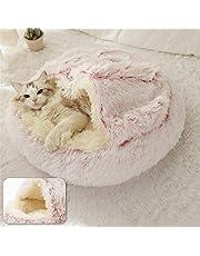 nobrands Fluffig kattbädd rund mjuk plysch grävande grotta med huva kattsäng inomhus vinter varm husdjur sovkudde halkskydd maskintvätt säng för katt valp