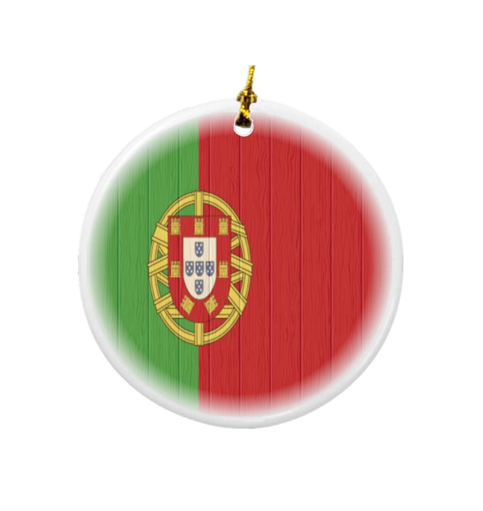 Rikki Knight Portugal Flag on Distressed Wood Design Round Porcelain Two-Sided Christmas Ornaments
