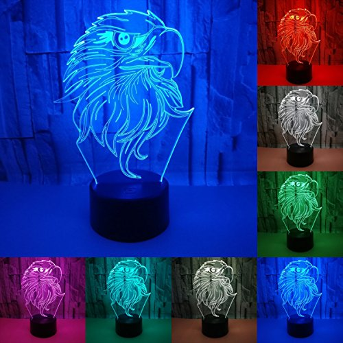 Julitech 3D Visual Creative LED Lamp 3W For Kids Night Lights Eagle 7 Colors Touch Switch Control Art Lights For Baby Children Adults For Baby Bedroom Nursery Birthday ()