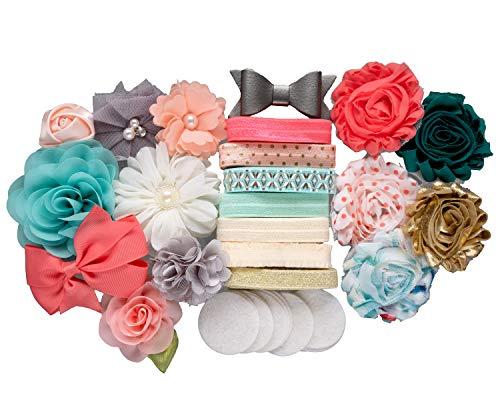 Princess & The Peach : DIY Elegant Baby Shower Headband Making Kit | Newborn Infant Toddler Tween Hair Accessories | Coral, Peach, Mint Green, Cream (Small (Add-On 12+ Hair Accessories))