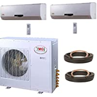 YMGI Dual Zone - 36000 BTU (18k+18k) 3 Ton 21 SEER Wall Mounted Mini Split Air Conditioner with Heat Pump for Home, Office, Apartment
