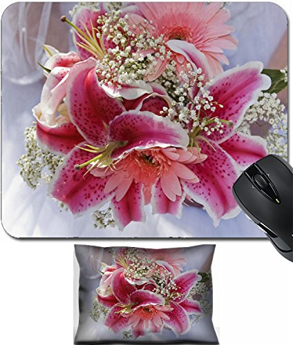 Price comparison product image MSD Mouse Wrist Rest and Small Mousepad Set, 2pc Wrist Support design 19620469 Beautiful pink bridal bouquet