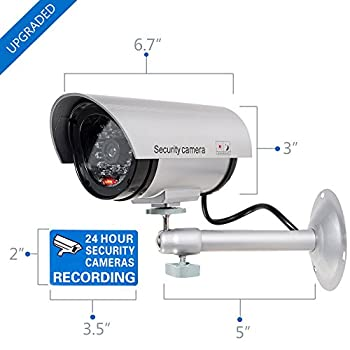 WALI Bullet Dummy Fake Surveillance Security CCTV Dome Camera Indoor Outdoor with one LED Light + Warning Security Alert Sticker Decals (TC-S2), 2 Packs, Silver