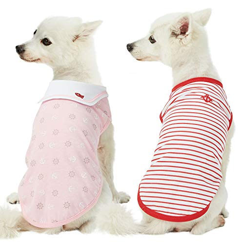 Blueberry Pet 2019 New Pack of 2 Soft & Comfy Sea Lover Girl Power Cotton Blend Striped Dog T Shirts, Back Length 10, Clothes for Dogs