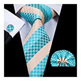 Hi-Tie Fashion Stripe Mens Tie Handkerchief Cufflinks
