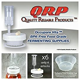 "QRP BEGINNER'S No Messy Overflow No Weights Needed Mason Jar Fermentation Kits with Exclusive Food Retainer Cups keep food submerged, 4 Fermentation Lids & ONLY 2 Airlocks 26 SUPER FAST SHIPPER ~ MOST ORDERS SHIPPED SAME DAY, EVEN ON SATURDAY! (unless handling time is set for more than 1 business day) We understand your health concerns. QRP products were developed to help our director overcome prostate cancer. ALL QRP parts and products are USDA Food Grade BPA-free Compliant and are produced by a reputable food container manufacturer. QRP BEGINNER'S EFFORTLESS MOLD-PROOF FERMENTATION KITS are offered to those who wish to ferment food or beverage using 3 or 4 Mason jars while storing or consuming from 1 or 2 Mason jars of fermented food or beverage (jars not included). Includes 6 Robust Plastic Caps with Silicone Grommets installed to side leaving space for labeling, 4 Seals, 4 EXCLUSIVE QRP OCCUPARE VITA FERMENTATION FOOD RETAINER AERATION CUPS, 4 Stoppers, and ONLY TWO (2) 3-Piece Airlocks. Save $$$ ... NO COSTLY, BREAKABLE GLASS FERMENTATION WEIGHTS NEEDED! Don't be deceived by competitors' pretty pictures showing full jars of food, but instruct you to leave 4"" space at the top of the jar! QRP'S FOOD RETAINER CUPS allow for FULL Mason Jar Food Fermentation."