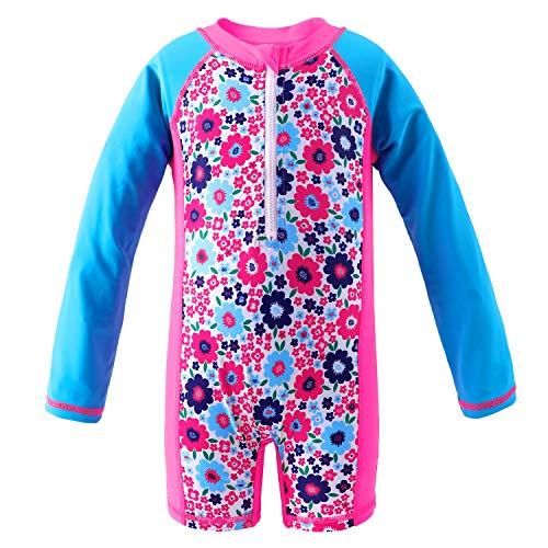 (Sociala Girls Long Sleeve Rash Guard Little Girl One Piece Swimsuit Rashguard 3T Blue and Pink)
