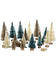 Dysetcs 24 Pieces Mini Sisal Snow Frost Trees with Wood Base Artificial Plastic Winter Snow Ornaments Tabletop Trees Miniature Christmas Tree for Christmas Home Decor