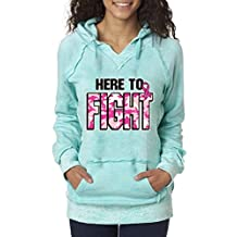 Here To Fight Pink Camo Fight Back Burnout Hoodies Breast Cancer Awareness