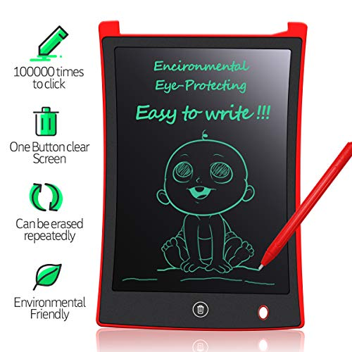 MYMAHDI LCD Writing Tablet, 8.5 inch Doodle Board, Electronic Drawing & Writing Board, with Smart Writing Stylus for Kids Gifts, School,Office, Fridge or Family Memo, Red