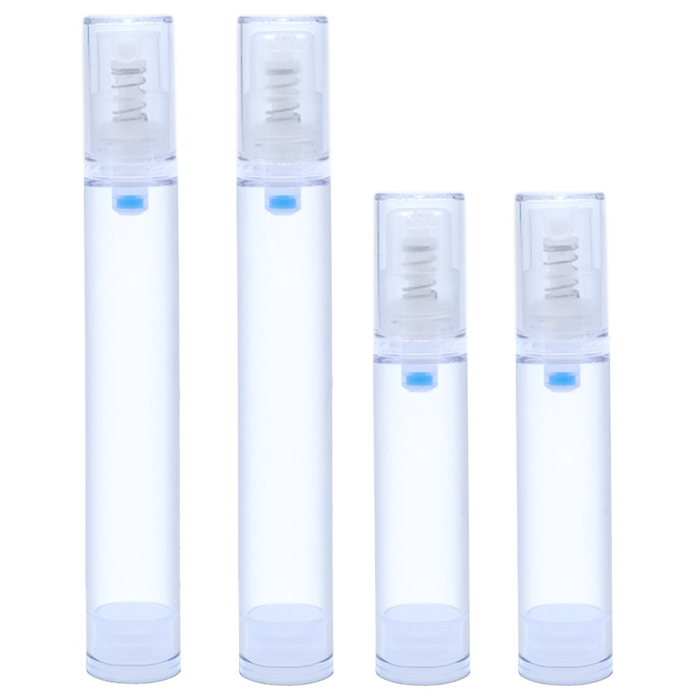 IHUIXINHE 4 Pack 10ml 15ml Empty Refillable Airless Travel Super Fine Mist Spray Bottles Mini Pump Bottle for Perfume, Lotion, Cream (1PC Soap Mesh Bag Incl)
