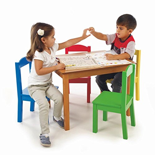 Kids Kitchen Table: Tot Tutors Kids' Table And 4-Chair Set, Primary Wood In