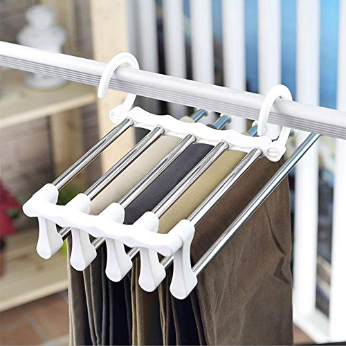 Fyore Pants Hanger Closet Organizer Non Slip Multi Layers Stainless Steel Adjustable Trousers Storage Rack Space Saving for Jeans Ties Scarves