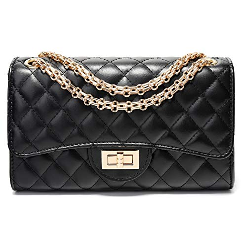 (Yusamy Women Classic Crossbody Shoulder Bag Black Quilted Purse with Metal Chain Strap)