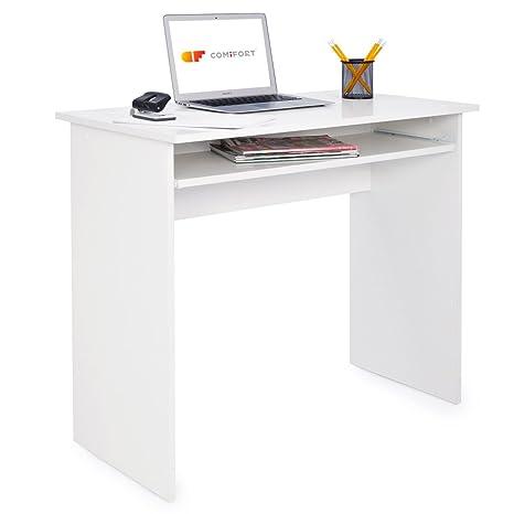 COMIFORT T01B - Escritorio con Bandeja extraíble, Mesa de Ordenador para Oficina o hogar, Acabado melamina Color Blanco, 90x50x77 cm